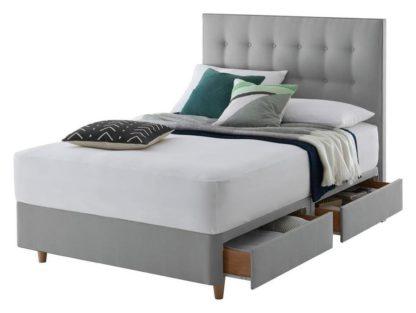 An Image of Silentnight Alaro Small Double 4 Drw Divan Set - Slate Grey