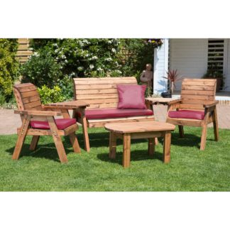 An Image of Charles Taylor 4 Seater Wooden Conversation Set with Burgundy Seat Pads Brown