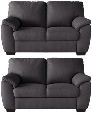 An Image of Argos Home Milano Pair of Fabric 2 Seater Sofa - Charcoal