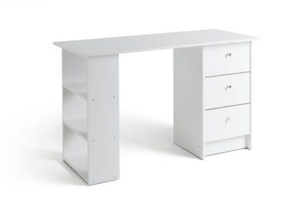 An Image of Habitat Malibu 3 Drawer Office Desk - White