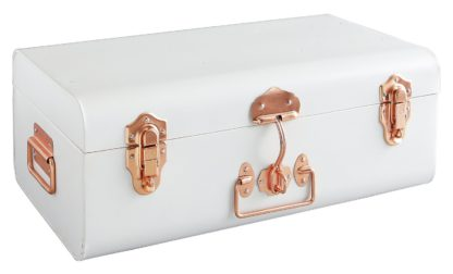 An Image of Habitat Trunk Linen Small Trunk with Copper Clasps