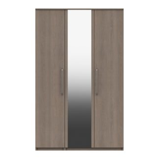 An Image of Parker Beige 3 Door Mirrored Wardrobe Dark Wood (Brown)