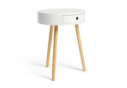 An Image of Habitat Otto 1 Drawer Round Bedside Table - White