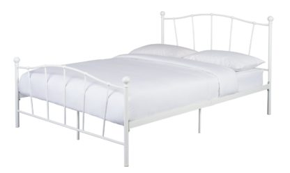 An Image of Habitat Fleur Small Double Metal Bed Frame - White