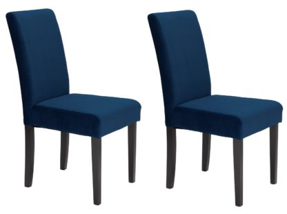 An Image of Habitat Pair of Midback Velvet Dining Chairs - Navy