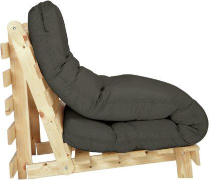 An Image of Habitat Single Futon Sofa Bed with Mattress - Grey