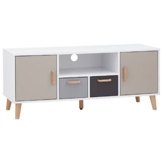 An Image of Delta 2 Door 2 Drawer Large TV Unit - White & Grey