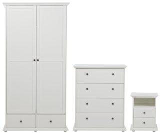 An Image of Habitat Heathland 3 Pc 2 Door 2 Drw Wardrobe Set - White