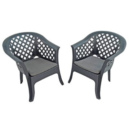 An Image of Savona Set of 2 Anthracite Chairs Grey