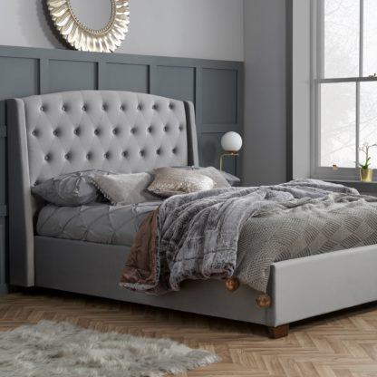An Image of Balmoral Velvet Bed Frame Grey