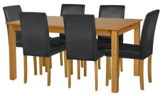 An Image of Habitat Ashdon Solid Wood Dining Table & 6 Black Chairs