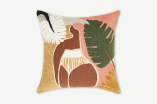 An Image of Zonje Embroidered Cushion, 45 x 45cm, Terracotta