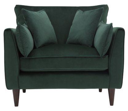 An Image of Habitat Hector Velvet Cuddle Chair - Green