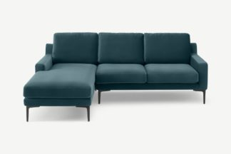 An Image of Katrine Left Hand Facing Chaise End Corner Sofa, Steel Blue Velvet