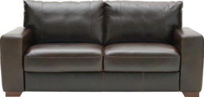 An Image of Habitat Eton 3 Seater Leather Sofa - Dark Brown