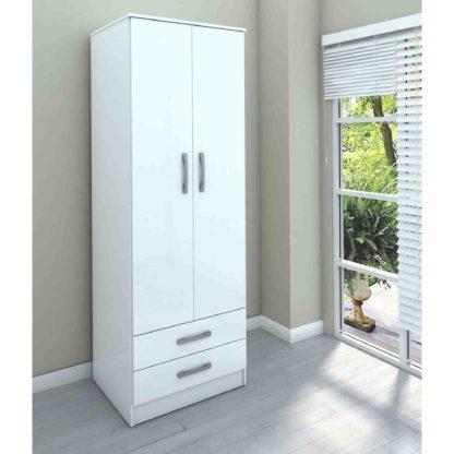 An Image of Lynx White 2 Door Combi Wardrobe White