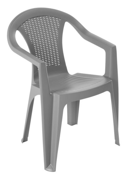 An Image of Argos Home Rattan Effect Stacking Chair - Grey