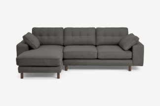 An Image of Content by Terence Conran Tobias Left Hand Facing Chaise End Sofa, Charcoal Grey Boucle with Dark Wood Leg
