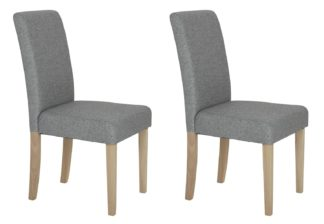 An Image of Habitat Pair of Tweed Mid Back Dining Chairs - Grey