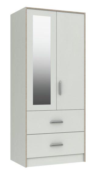 An Image of Ashdown 2 Door 2 Drawer Mirror Wardrobe - White