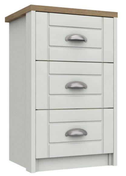 An Image of Kielder 3 Drawer Bedside Table - White