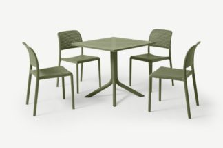 An Image of Nardi 4 Seat Dining Set, Olive Fibreglass & Resin