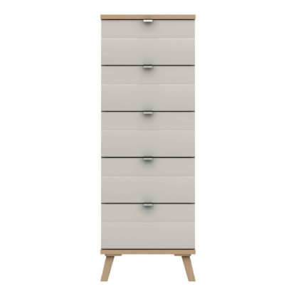 An Image of Murray 5 Drawer Tallboy Off-White