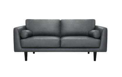 An Image of Habitat Jackson 3 Seater Leather Sofa - Grey