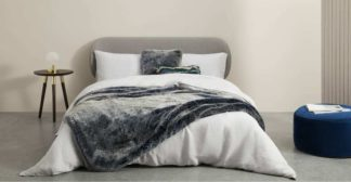 An Image of Adelphi Luxury Faux fur cushion 50x50cm, Blue