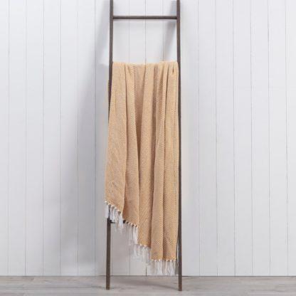 An Image of Jenson Herringbone 200cm x 200cm Throw Brown