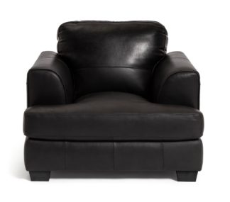An Image of Habitat Elmton Leather Sofa Chair - Black