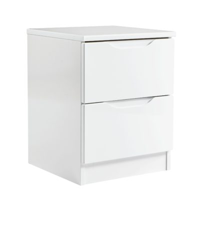 An Image of Legato 2 Drawer Bedside Table - White Gloss
