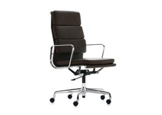 An Image of Vitra Eames EA219 Soft Pad Chair High Backrest Black Leather L20