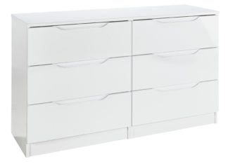 An Image of Legato 3+3 Drawer Chest - White Gloss