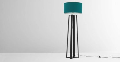 An Image of Asher Large Wooden Floor Lamp, Black and Petrol Blue