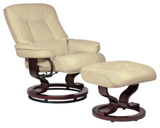 An Image of Argos Home Santos Recliner Chair and Footstool - Ivory