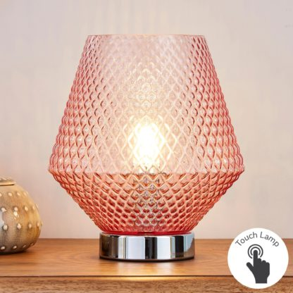 An Image of Miah Blush Touch Dimmable Table Lamp Blush