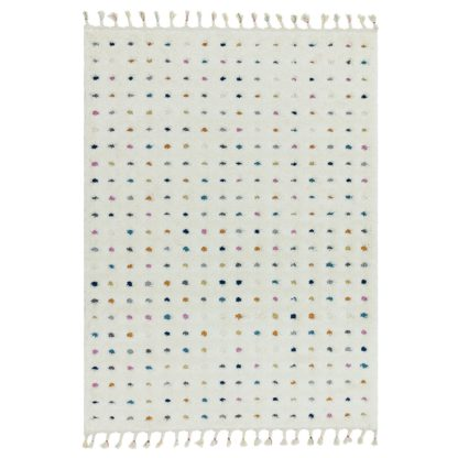 An Image of Asiatic Ariana Shaggy Spot Rectangle Rug - 80x150cm - White
