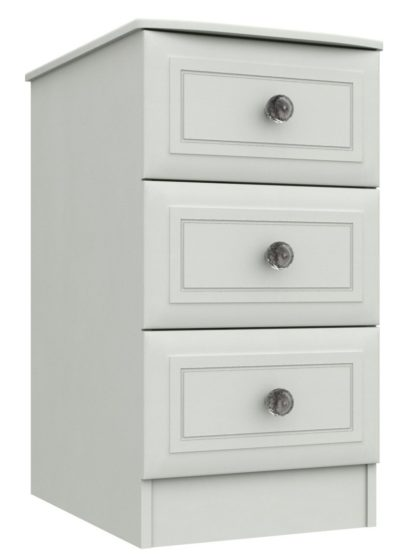 An Image of Rendlesham 3 Drawer Bedside Table - White