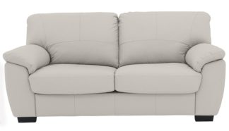 An Image of Argos Home Milano 2 Seater Leather Sofa Bed - Light Grey