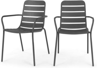 An Image of Tice Set of 2 Garden Dining Chairs, Grey