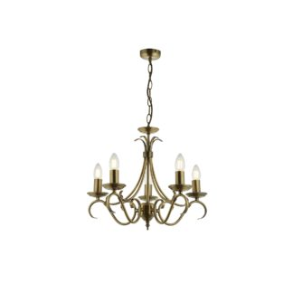 An Image of Endon Bernice 5 Light Candelabra Ceiling Fitting Antique Brass Antique Brass