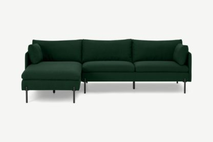 An Image of Zarina Left Hand Facing Chaise End Sofa, Forest Green Weave