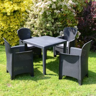 An Image of Salerno 4 Seater Dining Set with Sicily Chairs Grey