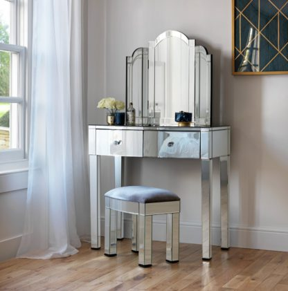 An Image of Argos Home Canzano Mirrored 2 Drawer Dressing Table Set