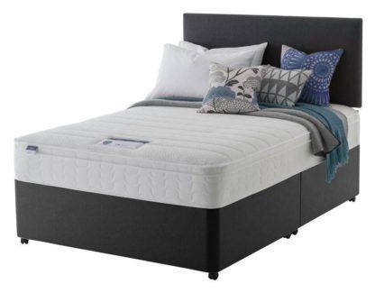An Image of Silentnight Travis Memory Kingsize Divan Bed - Charcoal
