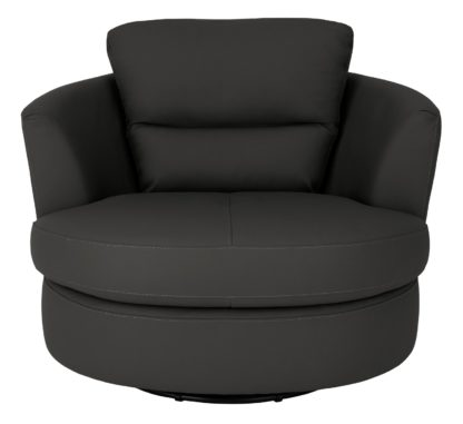 An Image of Argos Home New Trieste Leather Mix Swivel Chair - Black