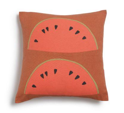An Image of Habitat Watermelon Patterned Cushion - Orange