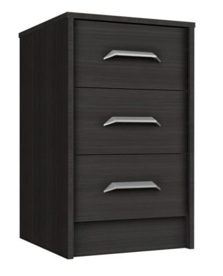 An Image of Ashdown 3 Drawer Bedside Table - Dark Grey