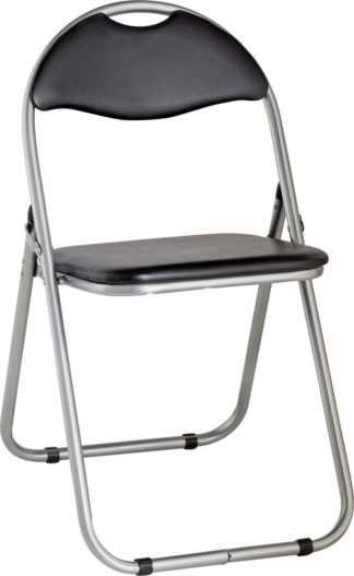 An Image of Habitat Padded Faux Leather Folding Office Chair - Black